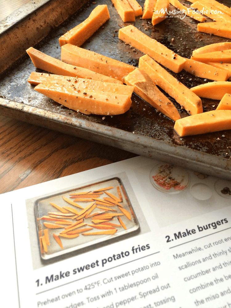 Marley Spoon: Soy-Miso Beef Burgers with Japanese-Seasoned Sweet Potato Fries