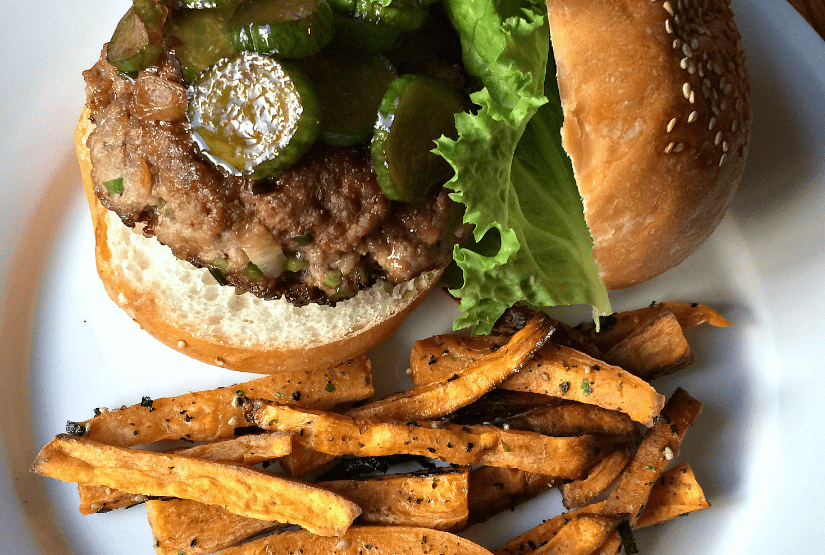 Marley Spoon: Soy-Miso Beef Burgers with Japanese-Seasoned Sweet Potato Fries