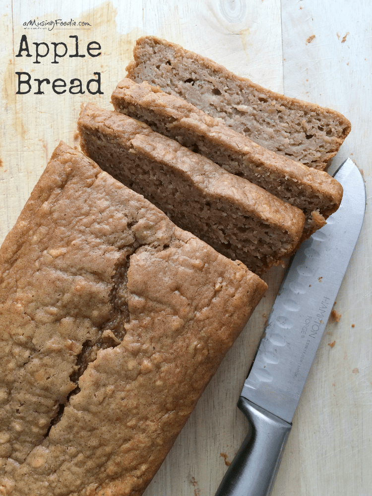This delicious apple bread is simple to make and so good! No peeling apples and a secret ingredient to add tons of flavor and keep it moist!
