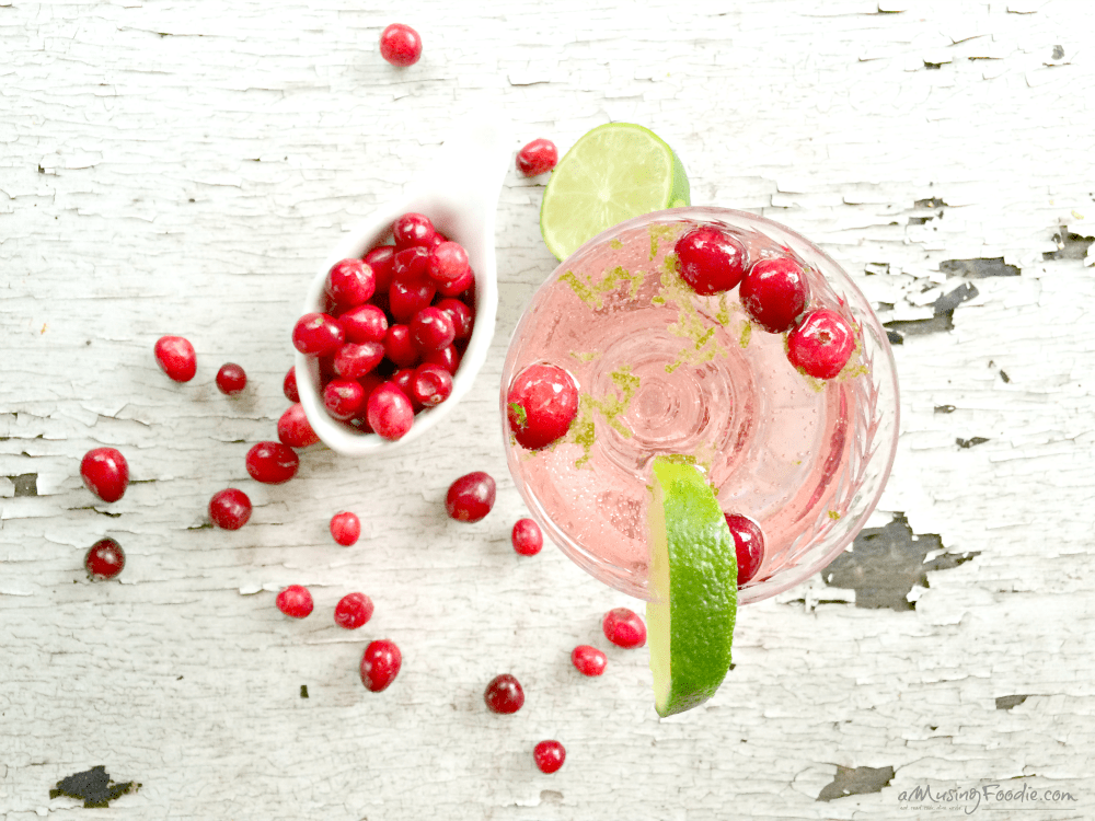 Sparkling Cranberry Blackcurrant Lime Cocktails