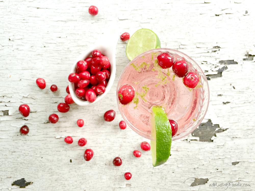 Sparkling Cranberry Blackcurrant Lime Cocktails