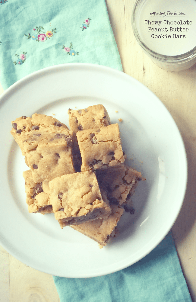 Easy Chewy Chocolate Peanut Butter Cookie Bars! YUM!!!