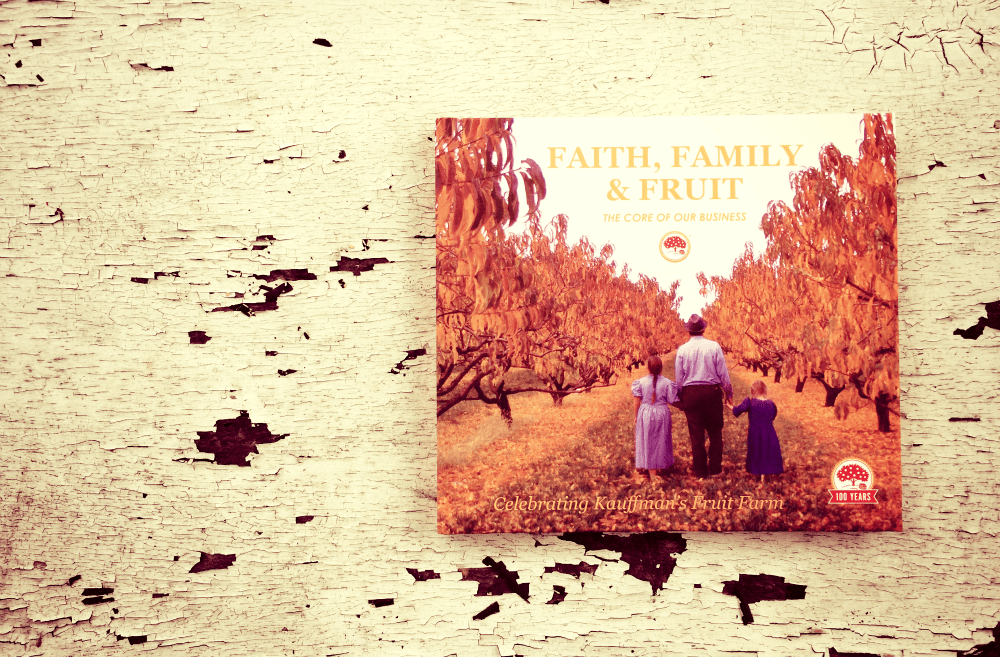 "How To Make The Perfect Kauffman's Gift Basket: start with the 100th Anniversary book ""Faith, Family & Fruit""!"