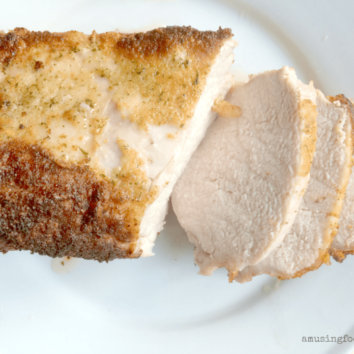 Roast pork loin sliced and ready to eat.