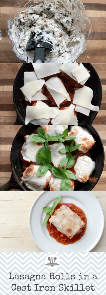 Lasagna rolls in a cast iron skillet are a simple and tasty way to tweak your traditional Italian casserole recipe.