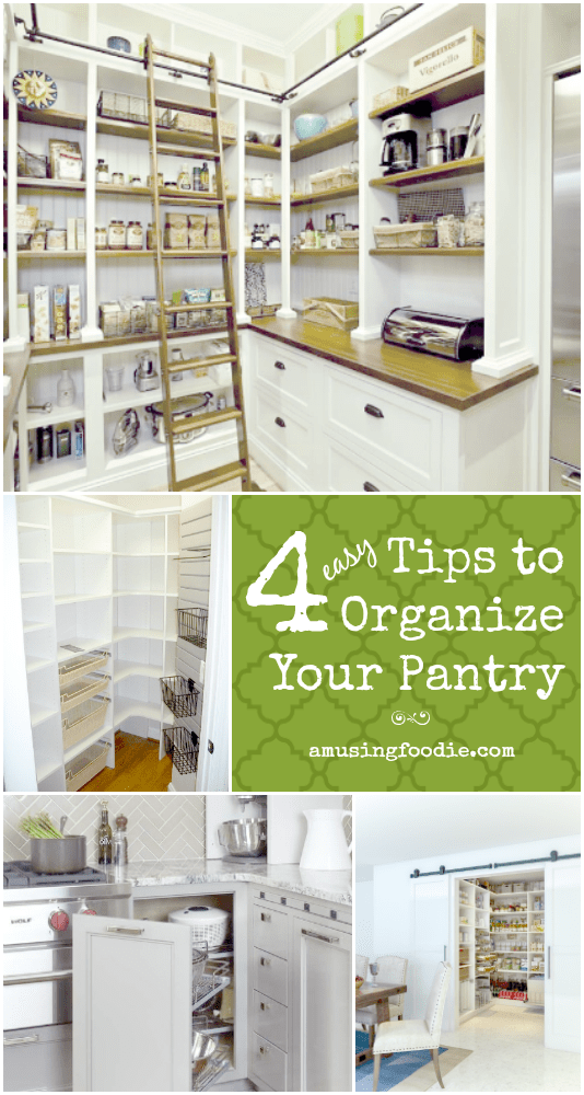 4 Tips to Organize Your Pantry: 1. Empty it out; 2. Group and store things intuitively; 3. Add surface area; 4. Maintain it often. Happy organizing!