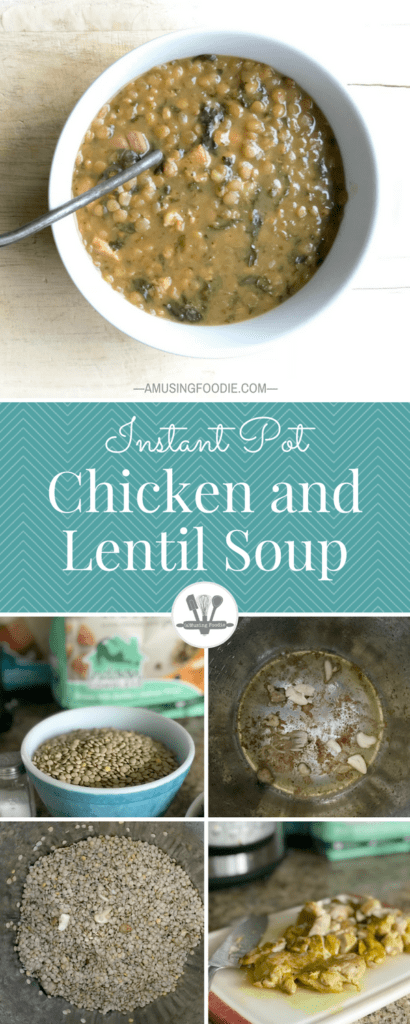 Simple step-by-step photos of making chicken and lentil soup in an Instant Pot. A hearty meal that'll warm you to the bone!