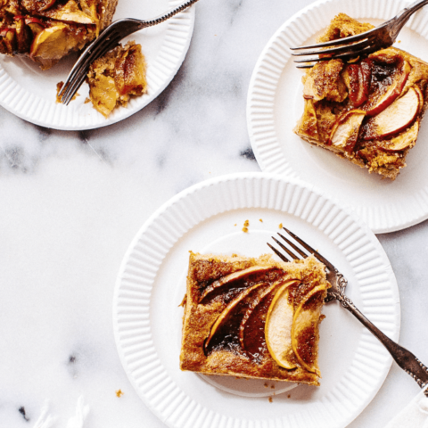 Slices of apple cinnamon french toast casserole — perfect for weekend breakfast!