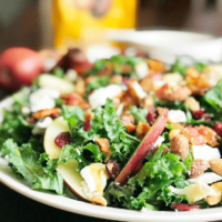 Fall Kale Salad with Honey Mustard Dressing