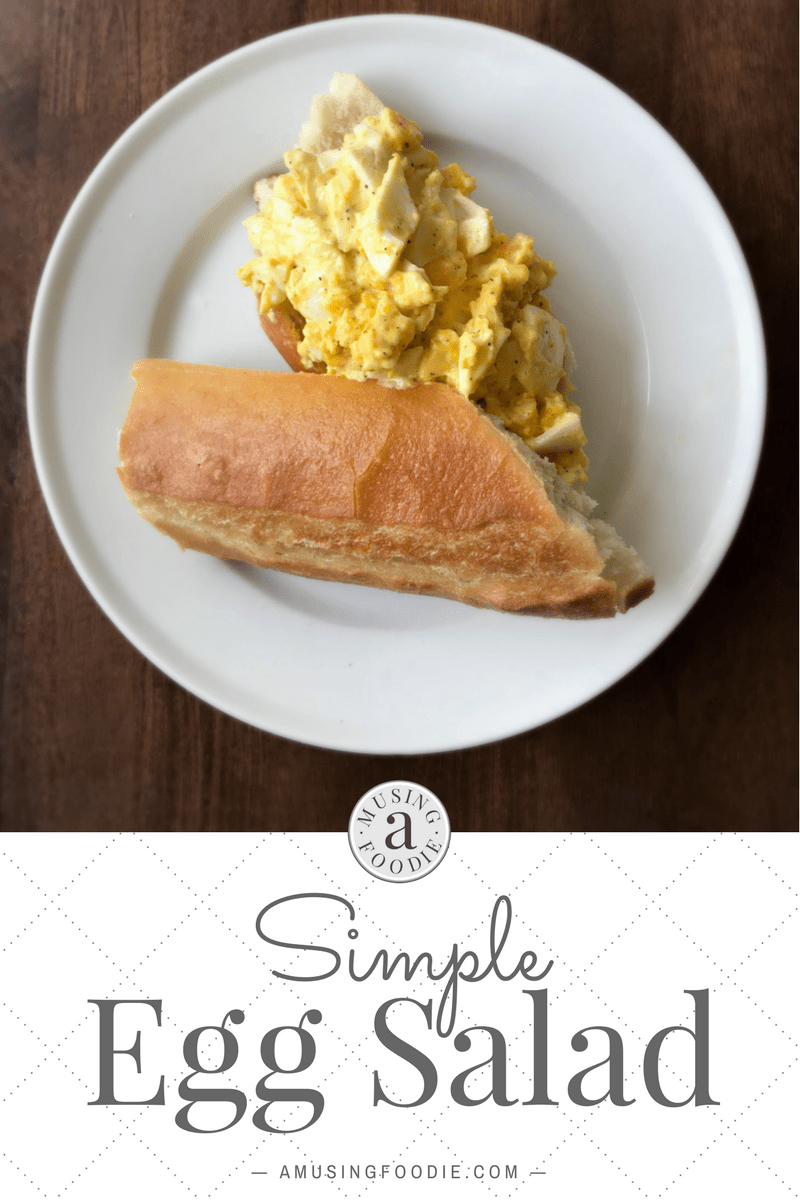 This creamy simple egg salad makes a tasty sandwich or is the perfect addition to a plate of baby spinach!