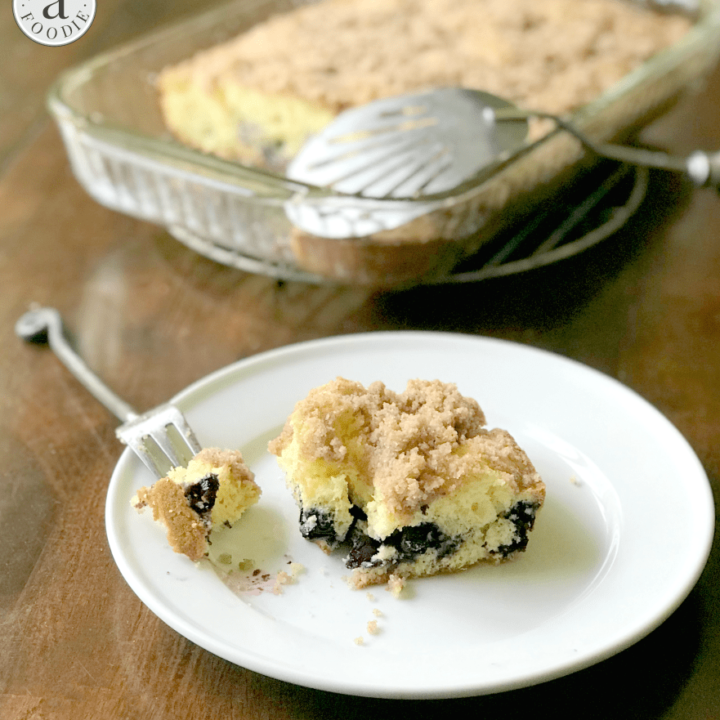 This blueberry muffin cake is all the mouth-watering flavor of traditional blueberry muffins—complete with a yummy crumble topping! —without the fuss of filling tins or storing individual muffins.