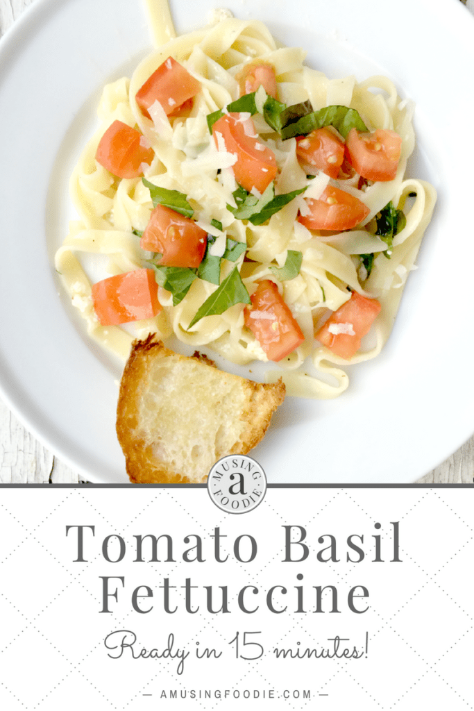 This simple, versatile tomato basil fettuccine is ready in fifteen minutes!