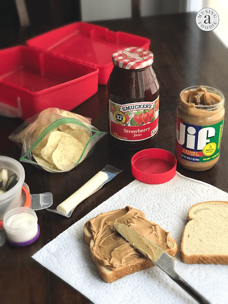 A traditional PB&J can stir up nostalgia as the epitome of a lunchbox classic, especially with—in my case—a heavier ratio of peanut butter to spread, and a side of classic, salty potato chips!