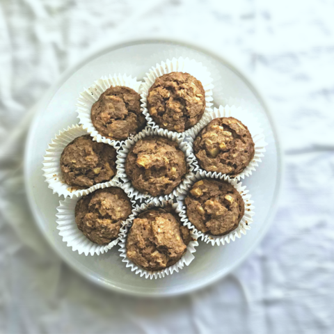 These cinnamon apple oatmeal muffins made with whole wheat flour are a perfect hearty grab-n-go breakfast or snack option.