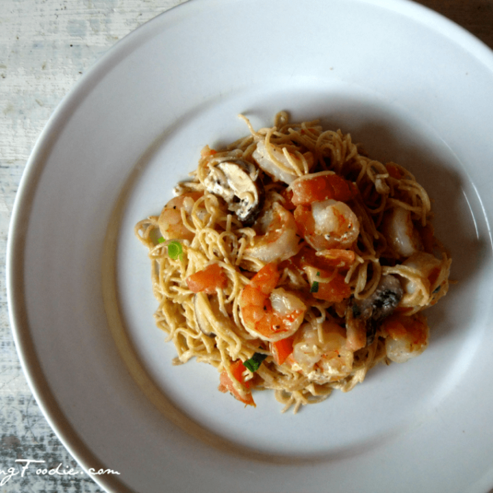 Seared Shrimp with Whole Wheat Pasta