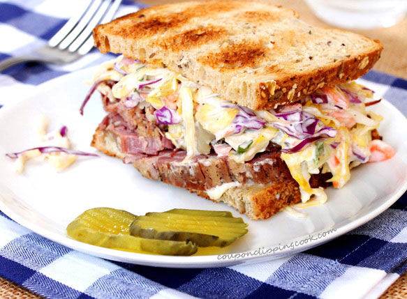 Even though most folks think about corned beef recipes in March thanks to St. Patrick's Day, corned beef makes for a yummy meal any time of the year! Try this recipe for corned beef and slaw sandwich at couponclippingcook.com!