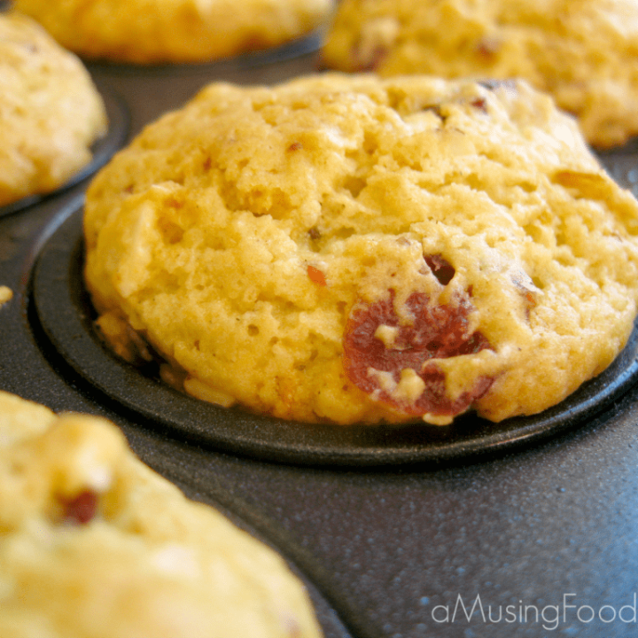 Cranberry Almond Zucchini Mini Muffins