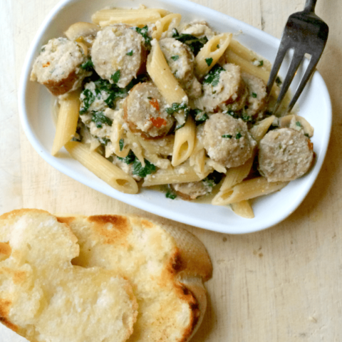 Creamy Penne With Seared Chicken Sausage