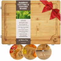 "EXTRA LARGE Bamboo Cutting Board for Kitchen - Wide Groove on one side reversible with 2 Compartments for different foods - (16"" x 12"" x 0.8"") Professional Grade Cuttingboard, Butcher Block"