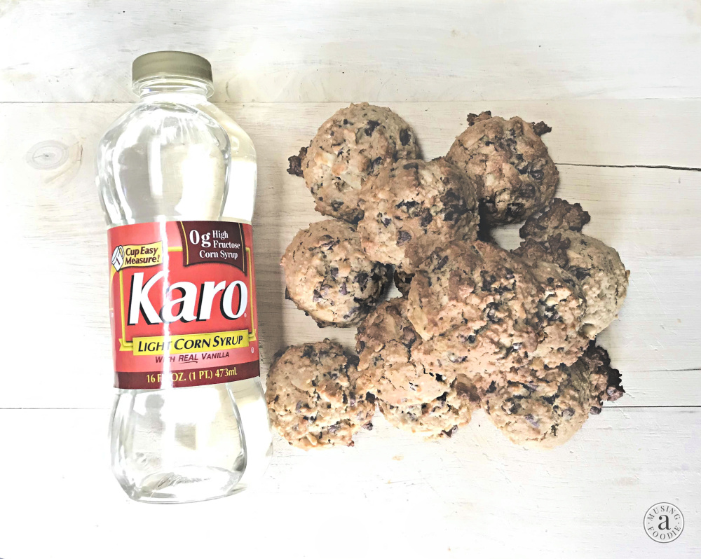 Chewy oatmeal chocolate chip cookie bites with almonds, made chewier with Karo® Corn Syrup.