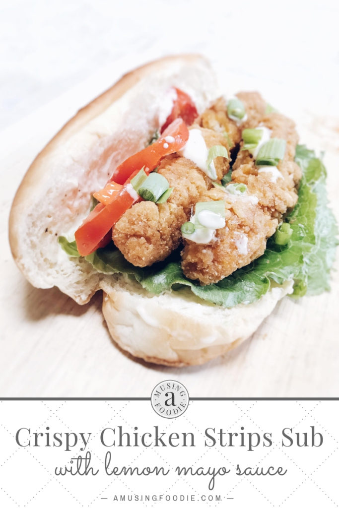 Crispy chicken strips layered on a sub roll with a lemon mayo sauce, lettuce, tomato and green onion.