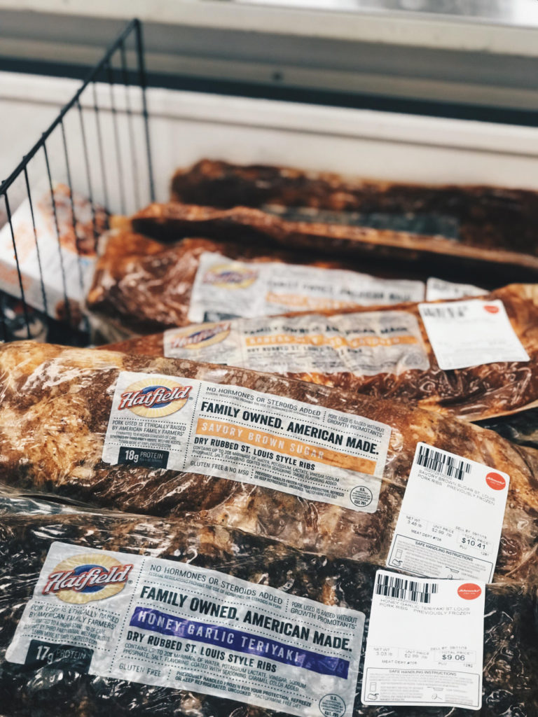 Hatfield Marinated Pork Ribs in the case at Schnucks.