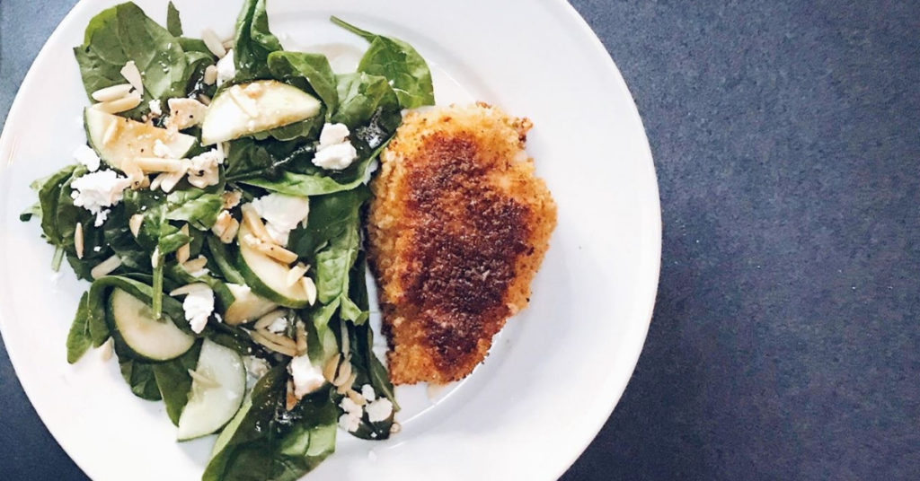 Panko crusted chicken with spinach salad and homemade vinaigrette.