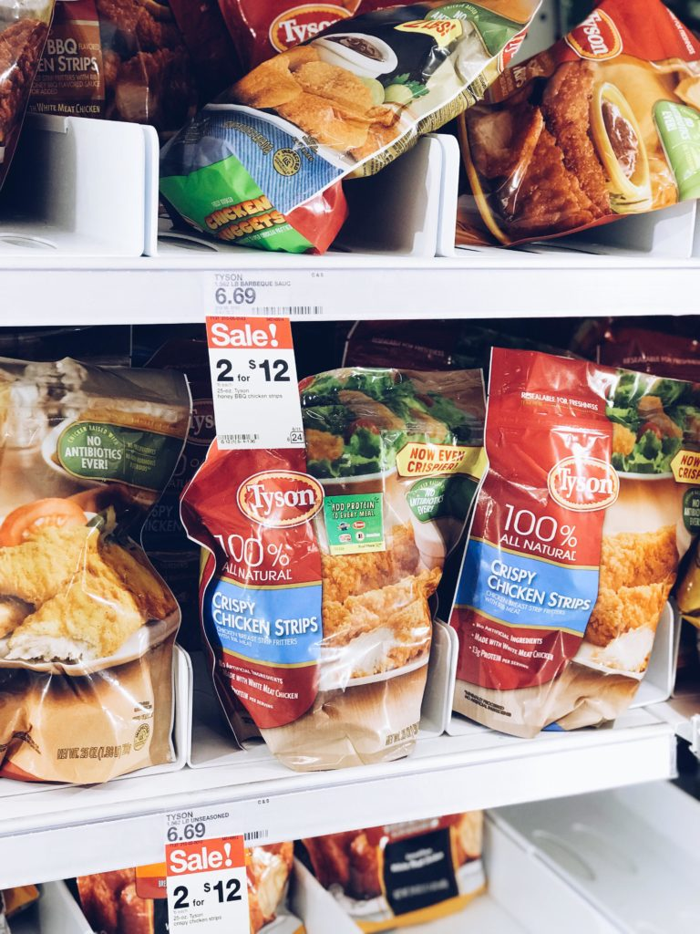 Tyson Crispy Chicken Strips in the frozen foods aisle at Target.