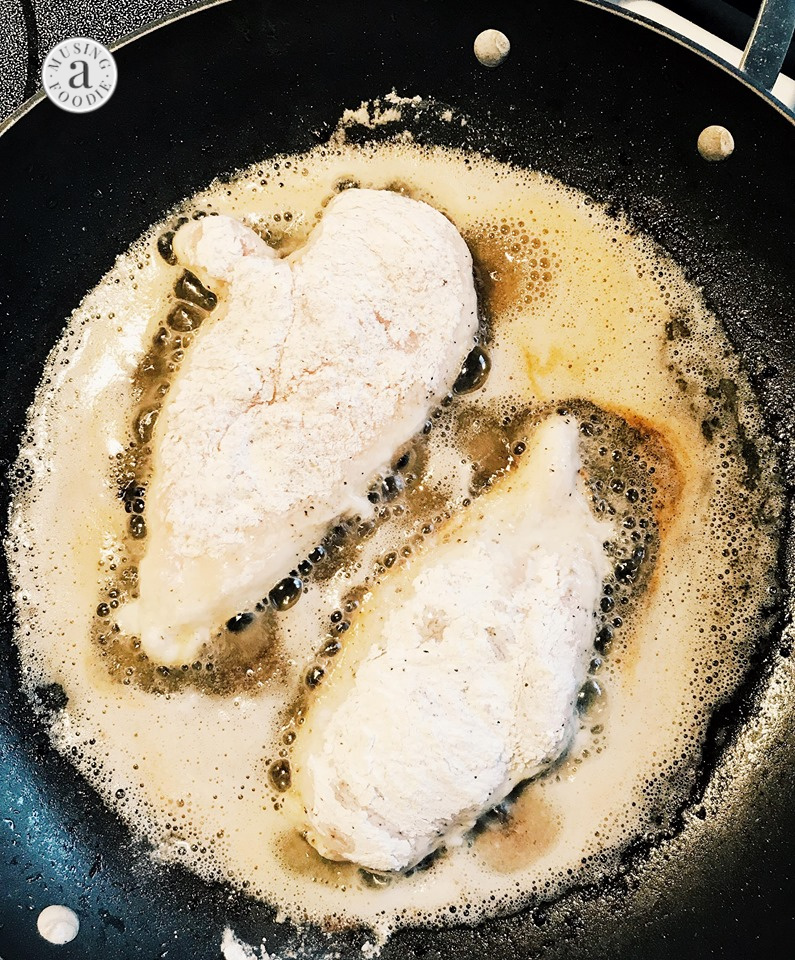 Thinly sliced chicken breasts dredged in a corn starch and flour mix, then seared in bacon grease on the stove.