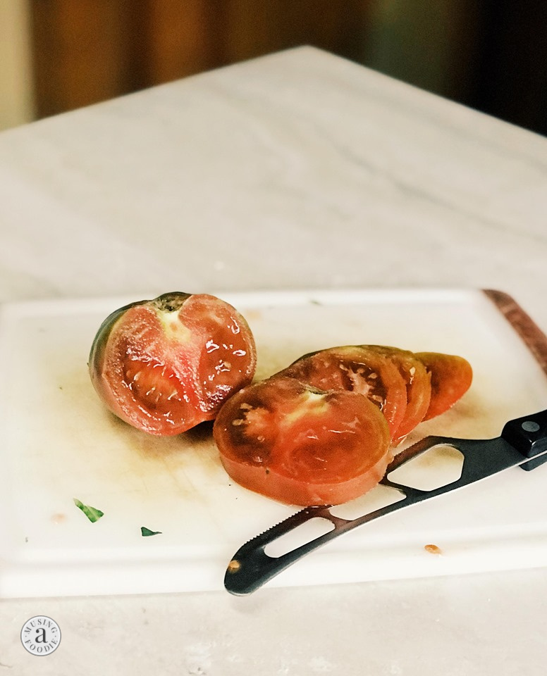 Sliced heirloom tomato.