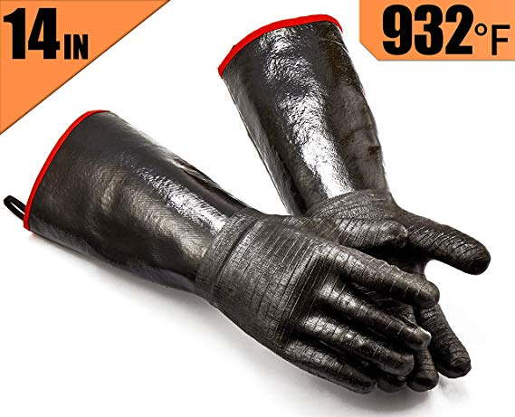 RAPICCA BBQ Gloves -Smoker, Grill, Cooking Barbecue Gloves, for Handling Heat Food Right on Your Fryer, Grill or Oven. Waterproof, Heat Resistant, Fireproof, Oil Resistant Neoprene Coating