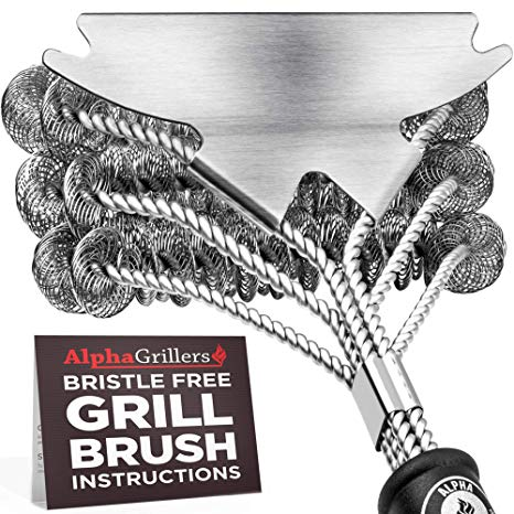 Alpha Grillers Grill Brush Bristle Free. Best Safe BBQ Cleaner with Extra Wide Scraper.