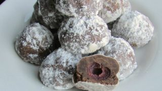 Chocolate Covered Cherry Snowball Cookies