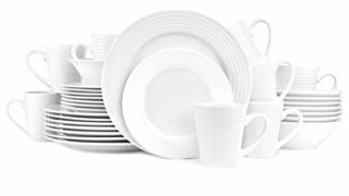 Stone lain Eddy Embossed Porcelain Round Dinnerware Set, 32 Pieces Service For 8, White